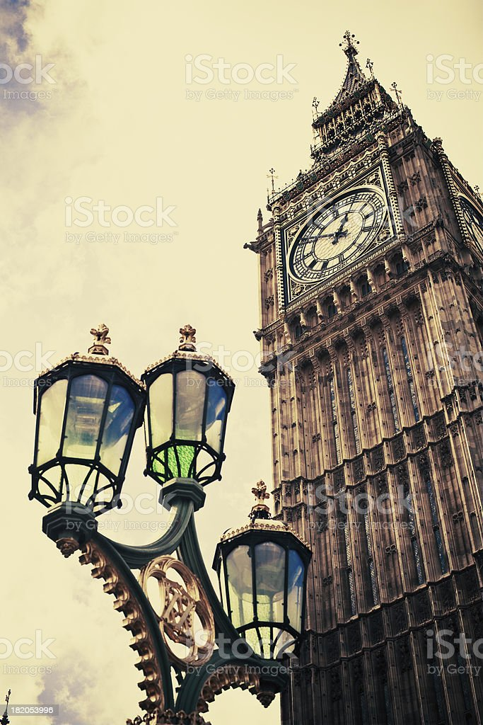 Low-angle shot of London's Big Ben in vintage tone royalty-free stock photo