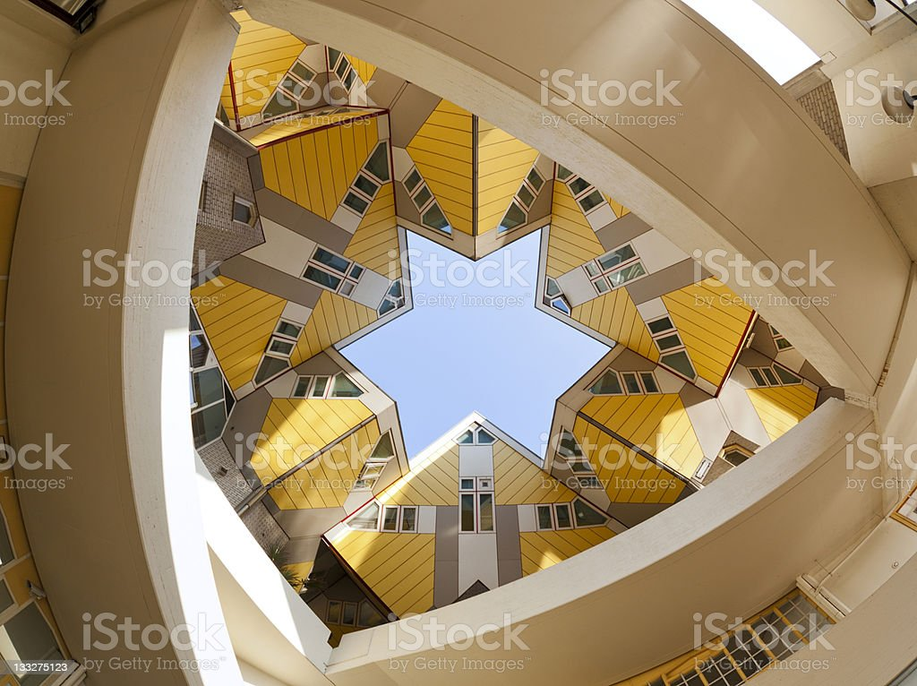 Low-angle shot of yellow cubic houses in Rotterdam stock photo