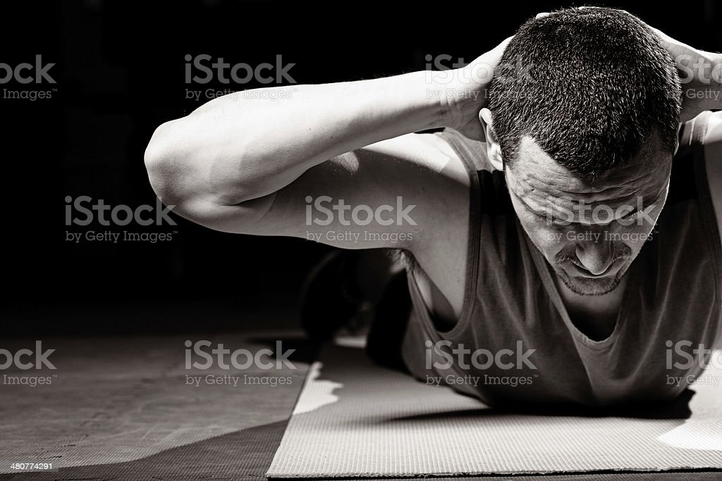 Lower back exercises stock photo