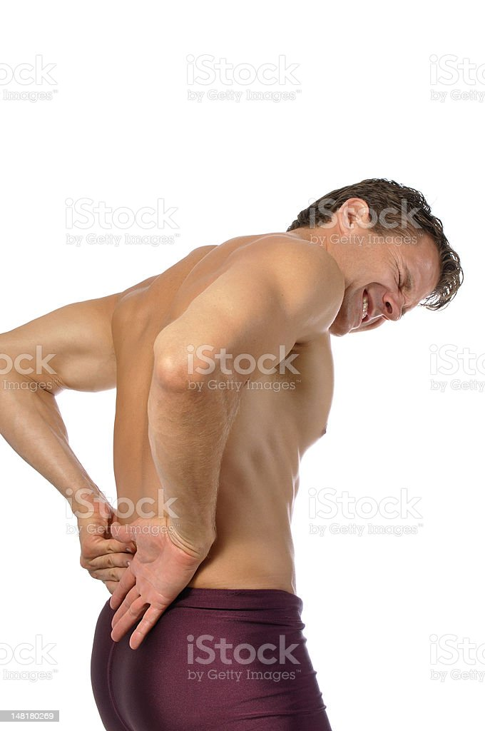 Lower back injury stock photo