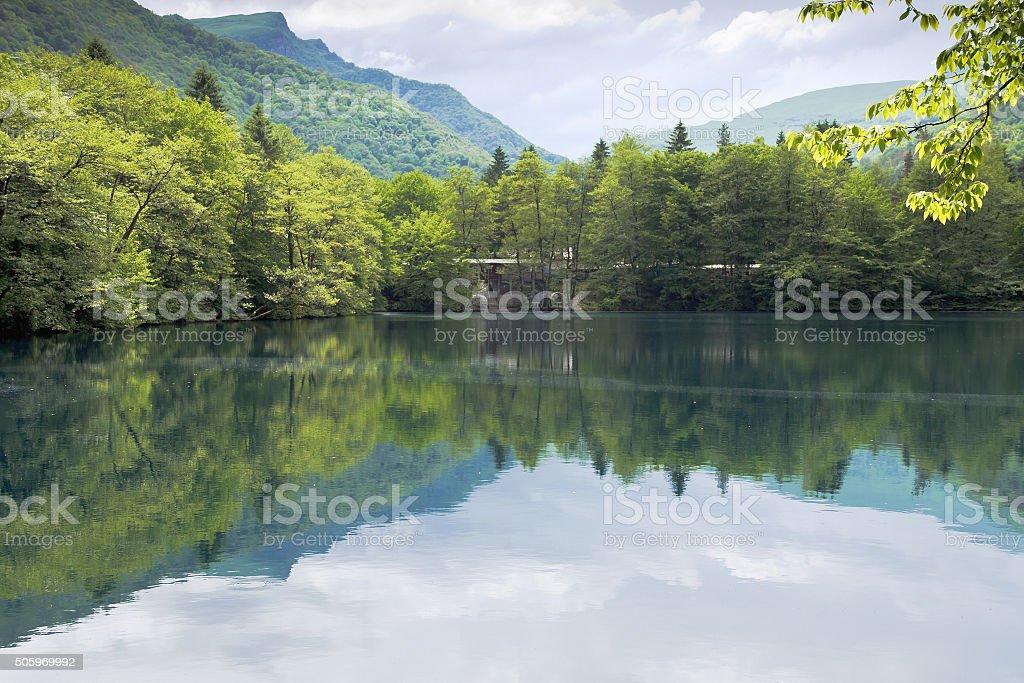 Lower Blue lake in Kabardino-Balkaria.Spring stock photo