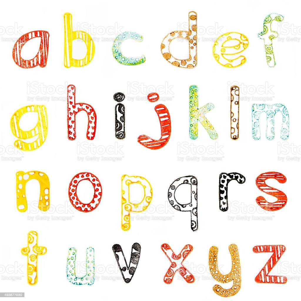 lower case alphabet stock photo
