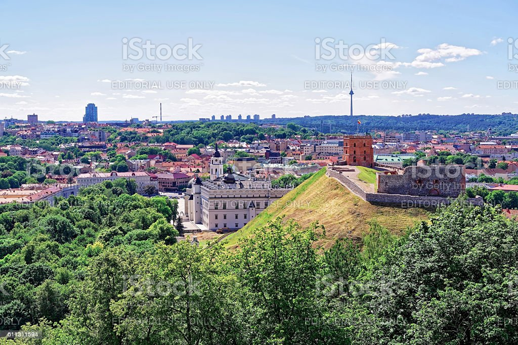 Lower Castle and the Tower in Vilnius in Lithuania stock photo