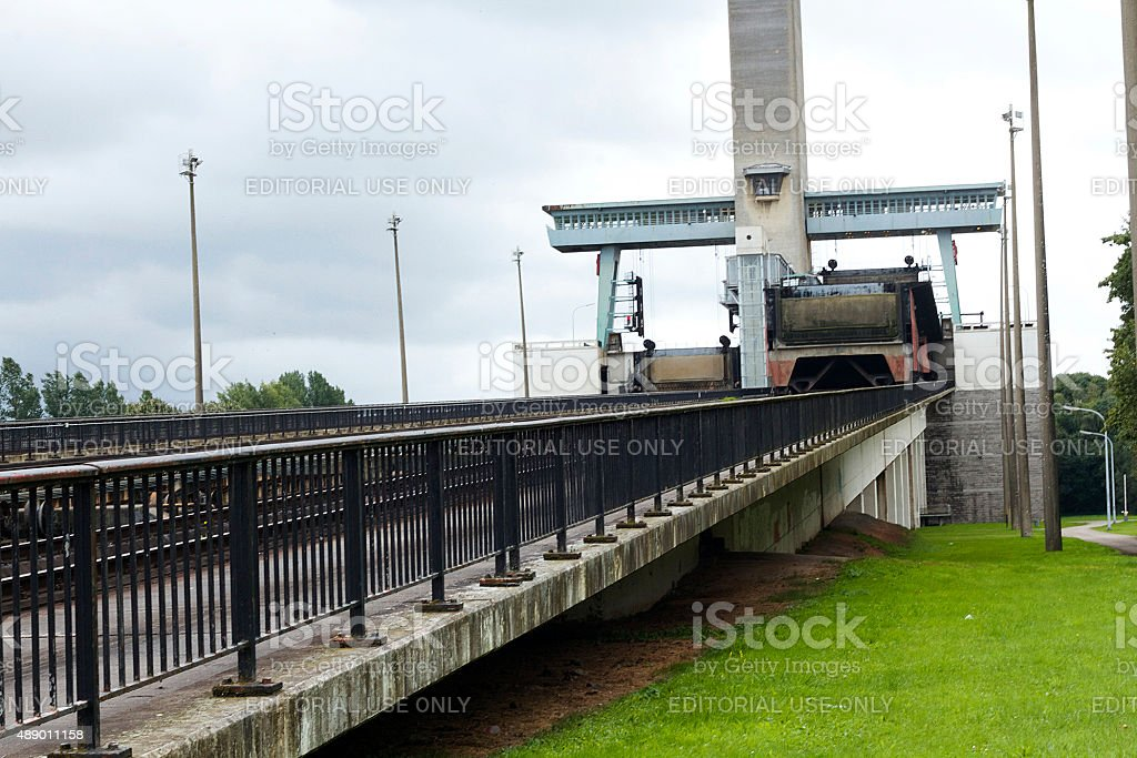 Lower control tower and machine hall of Ronqui?res Inclined Plane stock photo