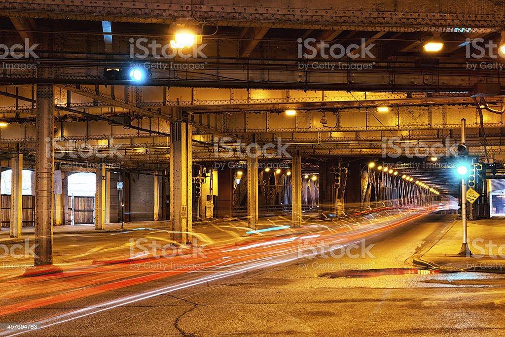 Lower deck of DuSable Bridge, downtown Chicago stock photo