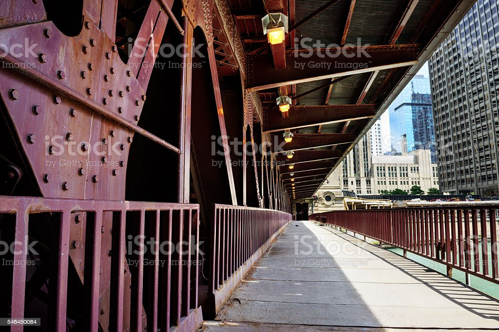Lower deck of Michigan Avenue Bridge, Chicago stock photo