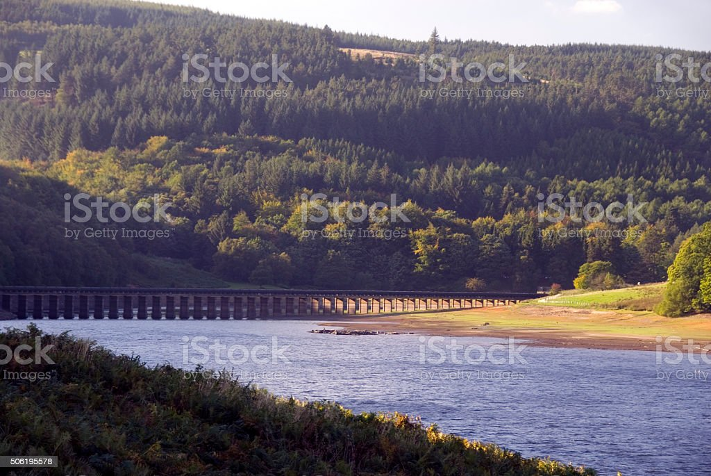 Lower Derwent Reservoir and aqueduct stock photo
