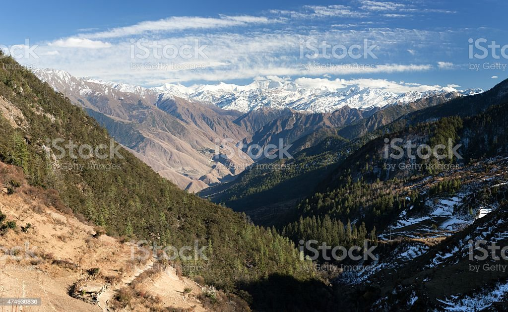 Lower Dolpo - landscape scenery around Dunai stock photo