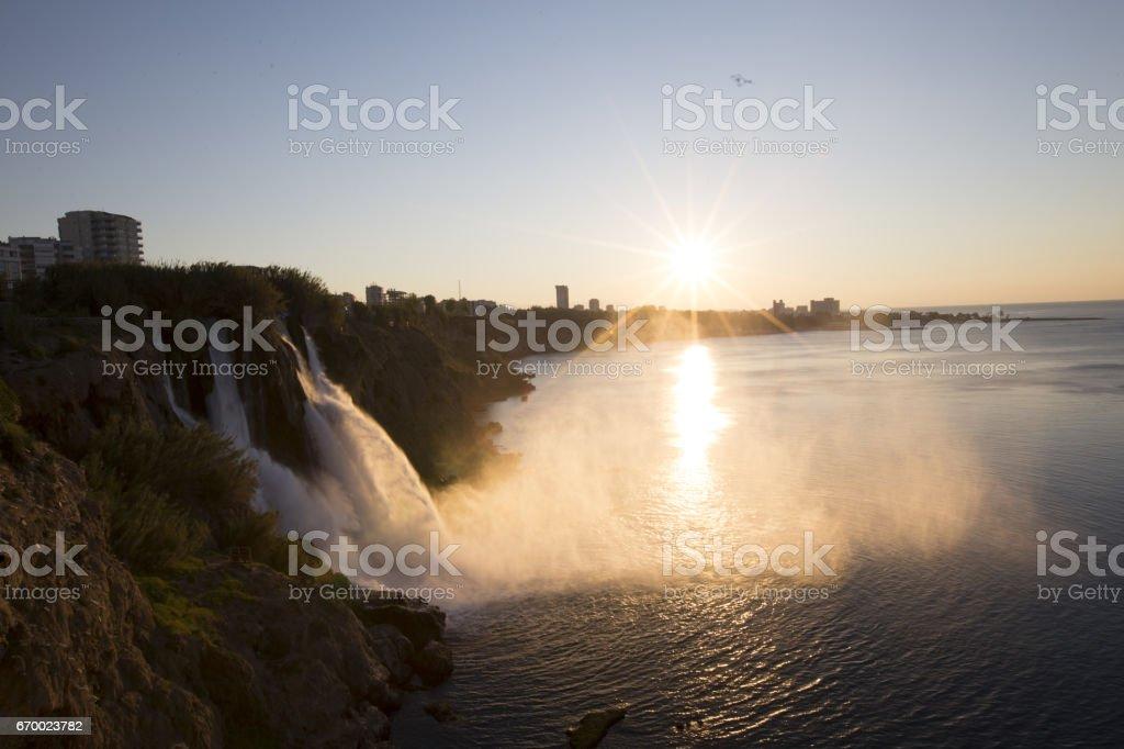 Lower Duden waterfall (Karpuzkald?ran waterfall). Lara, Antalya, Turkey stock photo