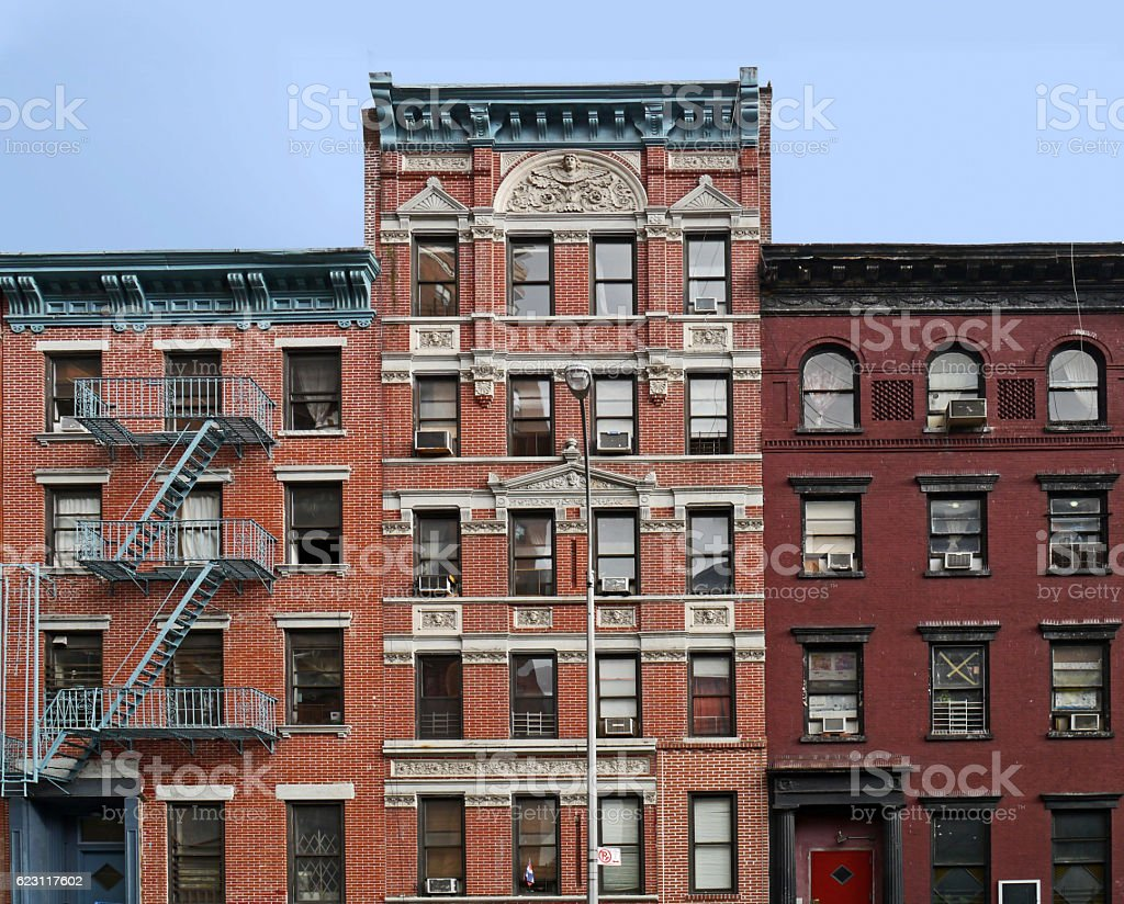 Lower East Side apartment buildings stock photo