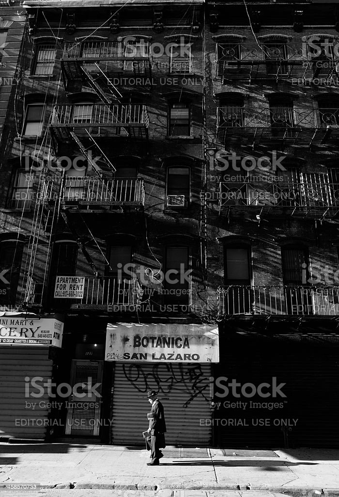 Lower East Side NYC resident and newspapers stock photo