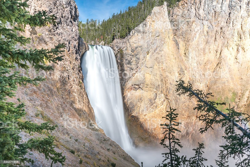 Lower Falls in Yellowstone National Park stock photo
