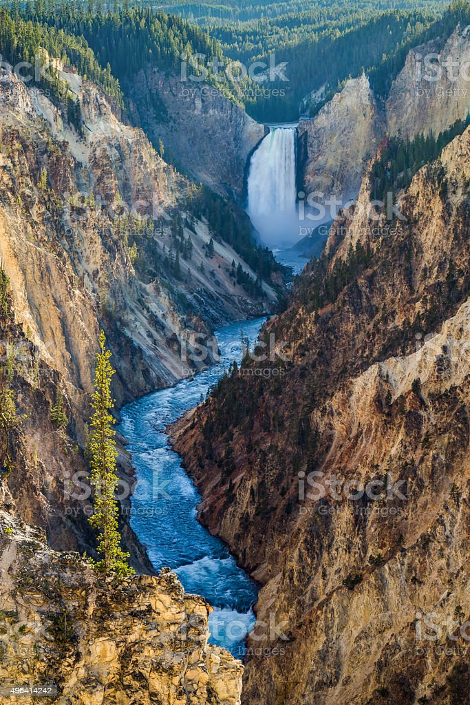 Lower Falls on the Grand Canyon of the Yellowstone, USA stock photo