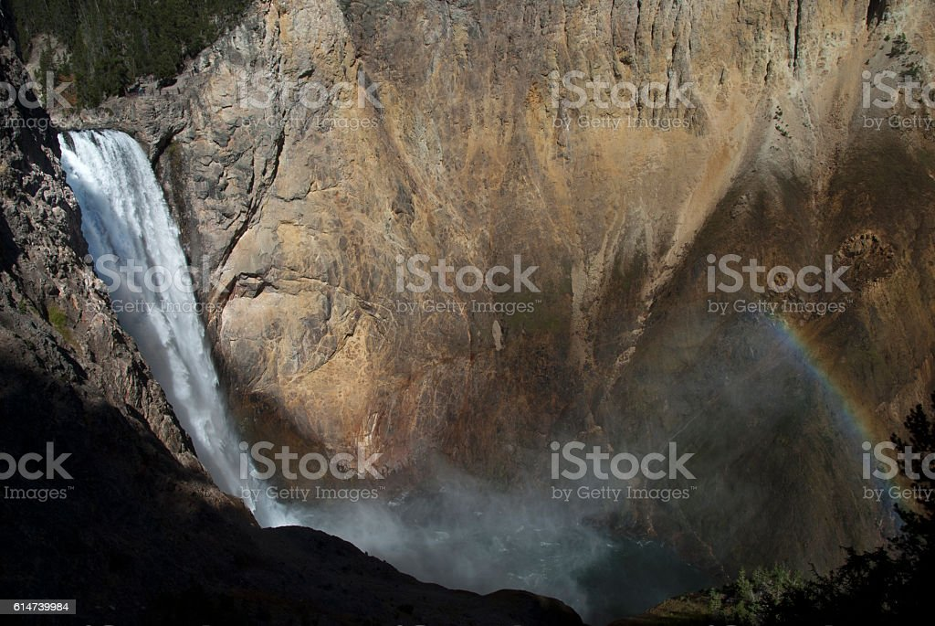 Lower Falls with Rainbow stock photo
