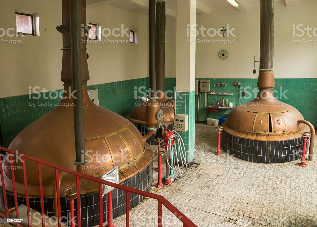 Lower level of brew house at Brewery. stock photo