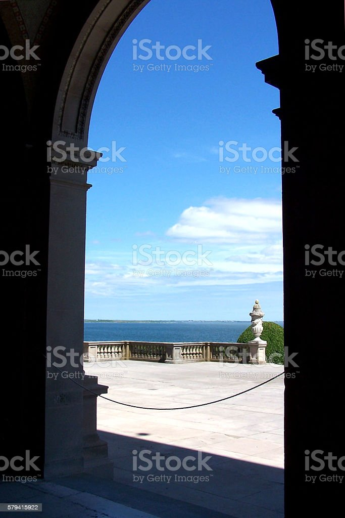 lower loggia at Breakers stock photo