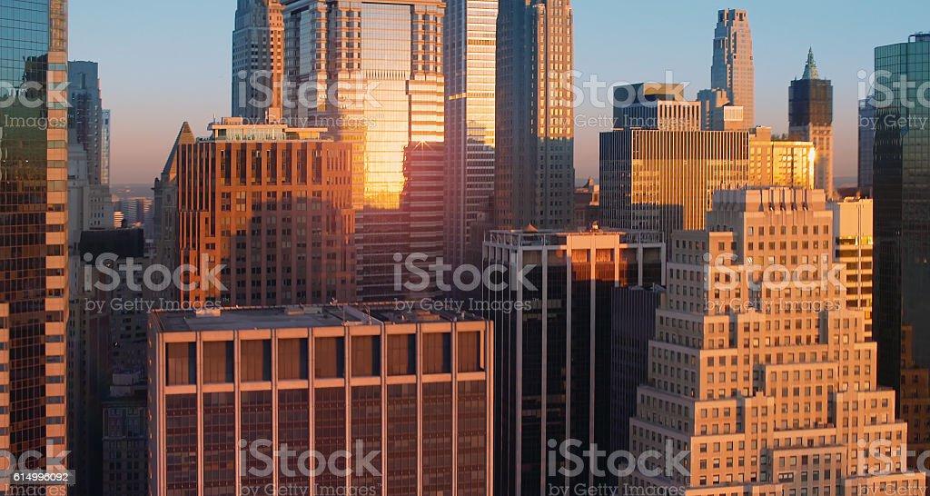 Lower Manhattan aerial stock photo