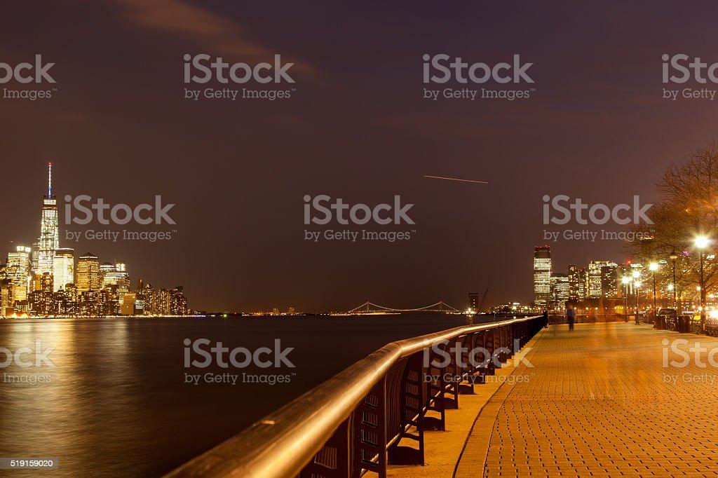 Lower Manhattan and Hoboken Waterfront stock photo