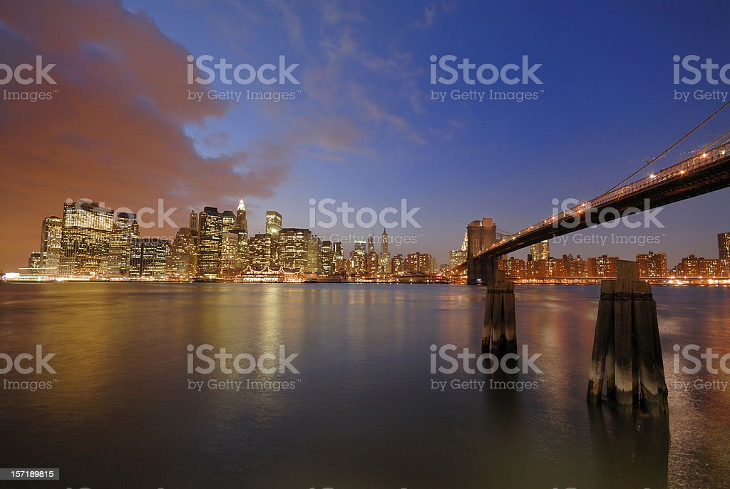 Lower Manhattan and the Brooklyn bridge royalty-free stock photo