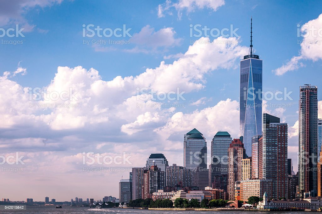 Lower Manhattan and the Freedom Tower stock photo