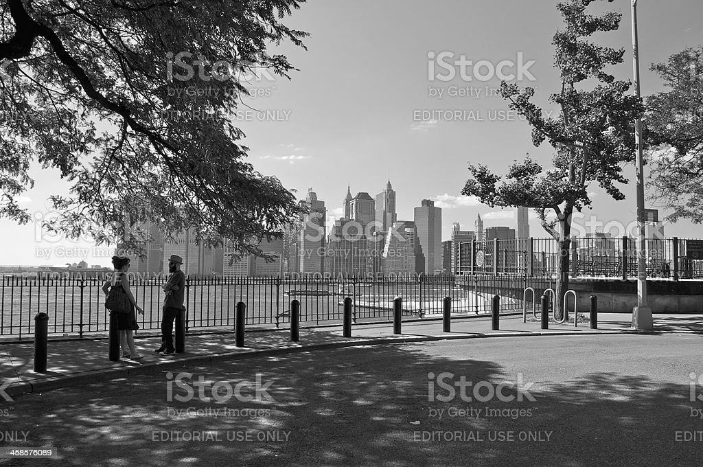 Lower Manhattan as seen from Brooklyn Heights, NYC royalty-free stock photo