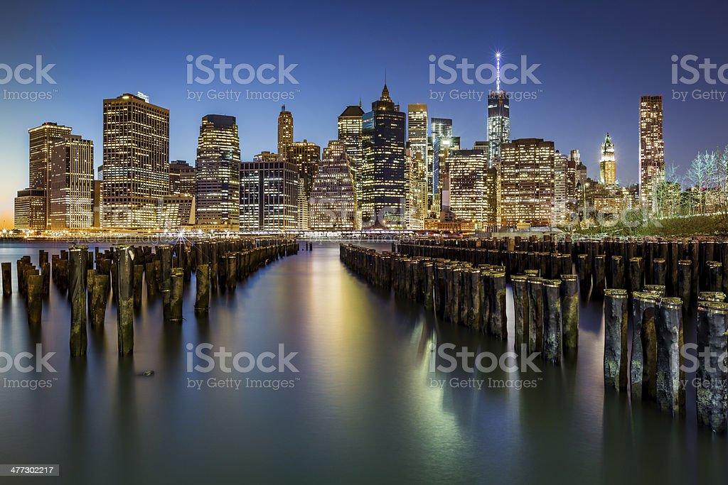 Lower Manhattan at dusk stock photo