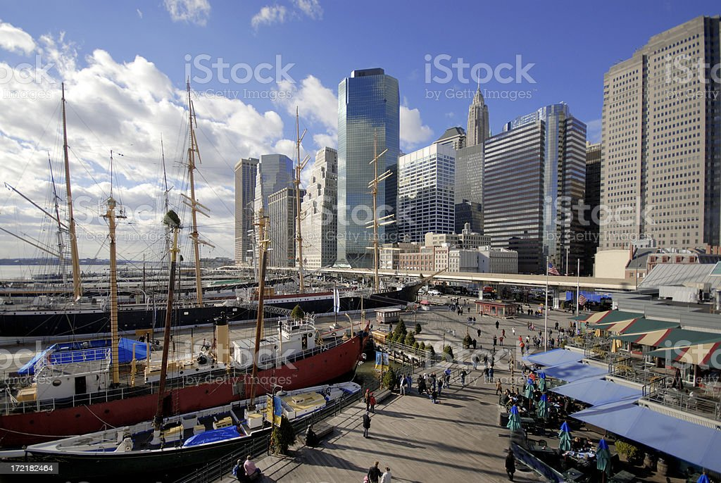 Lower Manhattan at South Street Seaport royalty-free stock photo