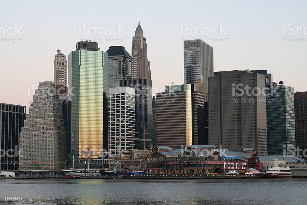 Lower Manhattan at sunrise royalty-free stock photo