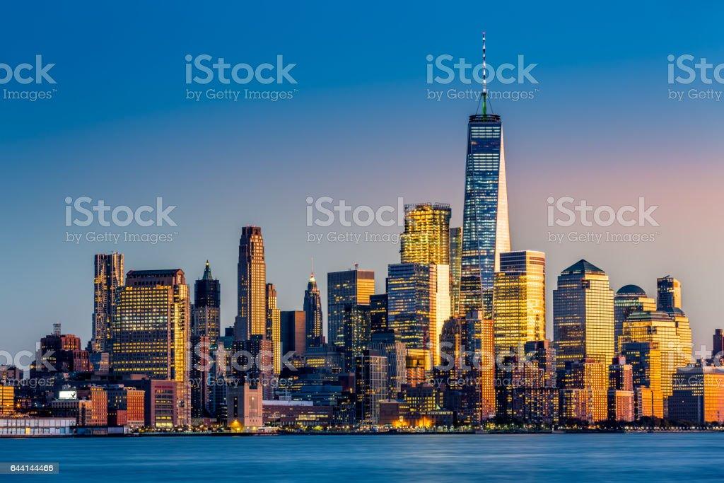 Lower Manhattan at sunset stock photo