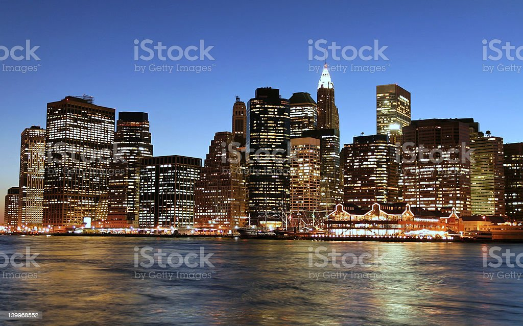 Lower Manhattan at twilight royalty-free stock photo
