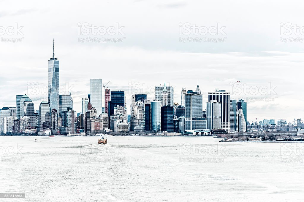 Lower Manhattan, Brooklyn and Freedom Tower, NYC - USA stock photo