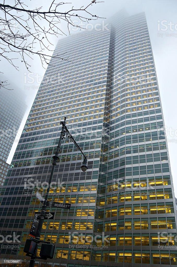 Lower Manhattan Cityscape, Goldman Sachs in Fog, New York City royalty-free stock photo