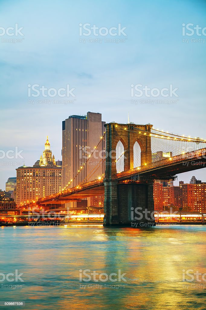 Lower Manhattan cityscape with the Brooklyn bridge stock photo