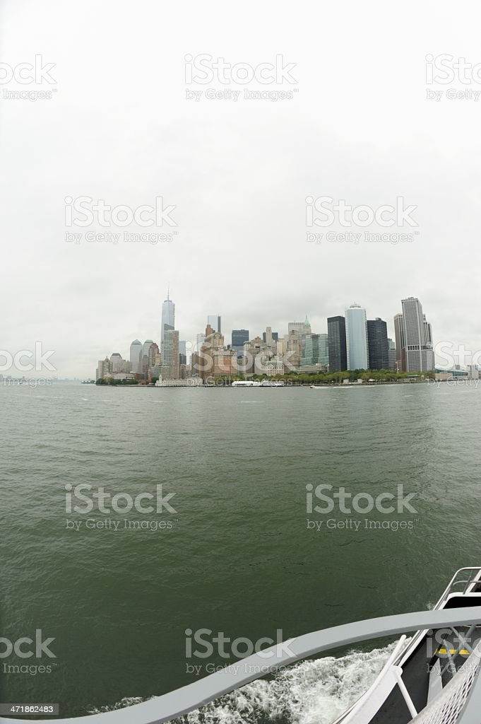 Lower Manhattan from a boat royalty-free stock photo
