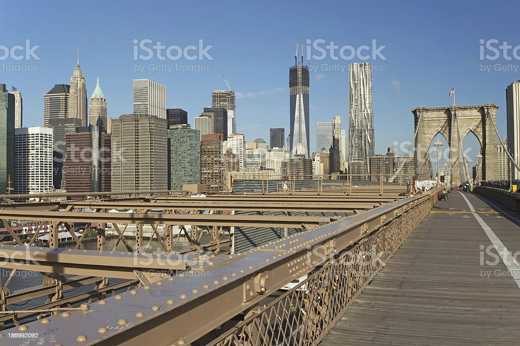 Lower Manhattan from the Brooklyn Bridge royalty-free stock photo