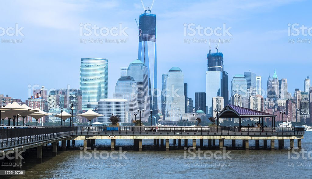 Lower Manhattan from the Hudson River Waterfront Walkway stock photo