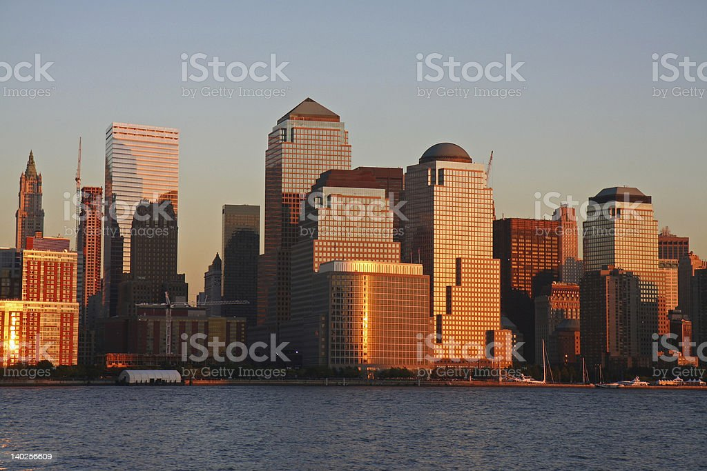 Lower Manhattan in the glow of sunset stock photo