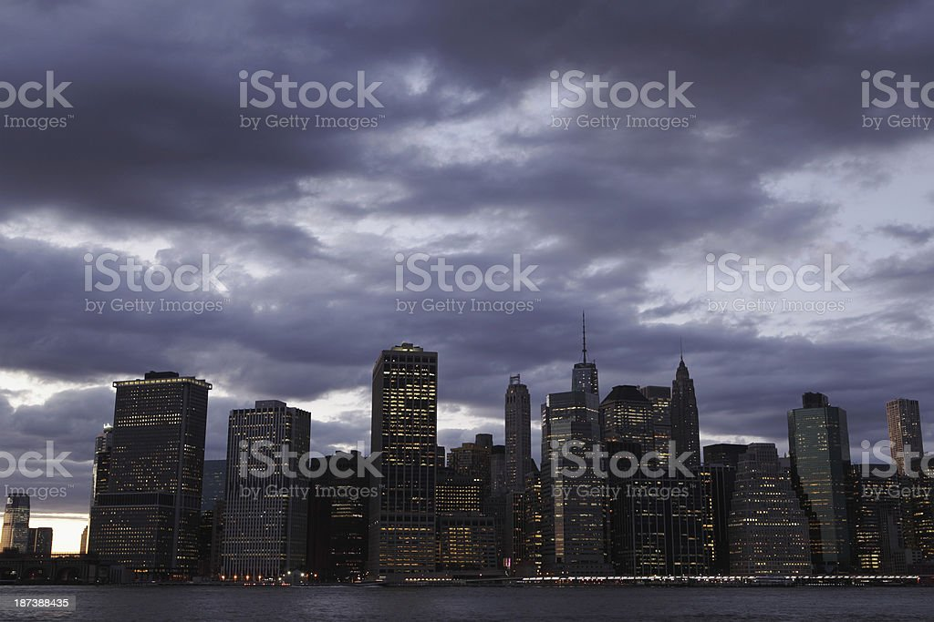 Lower Manhattan New York City Night royalty-free stock photo
