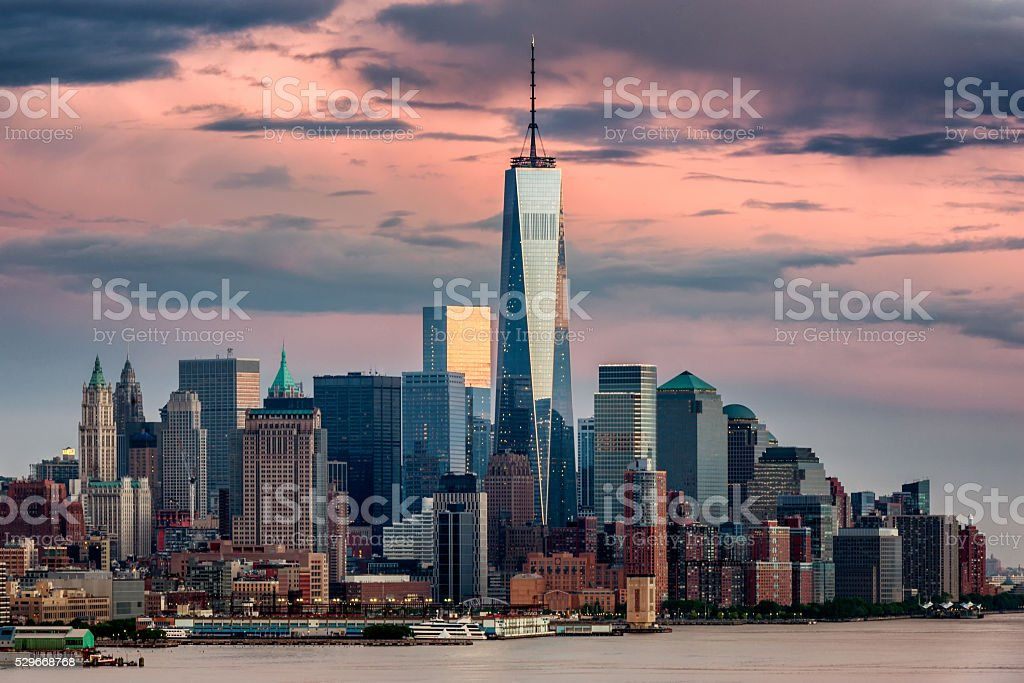 Lower Manhattan NYC from Weehawken NJ stock photo