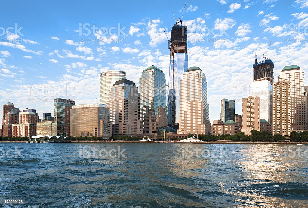 Lower Manhattan NYC Skyline and Freedom Tower royalty-free stock photo