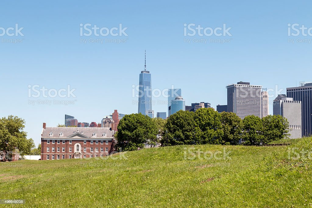 Lower Manhattan seen from Governors Island in NY Harbor stock photo