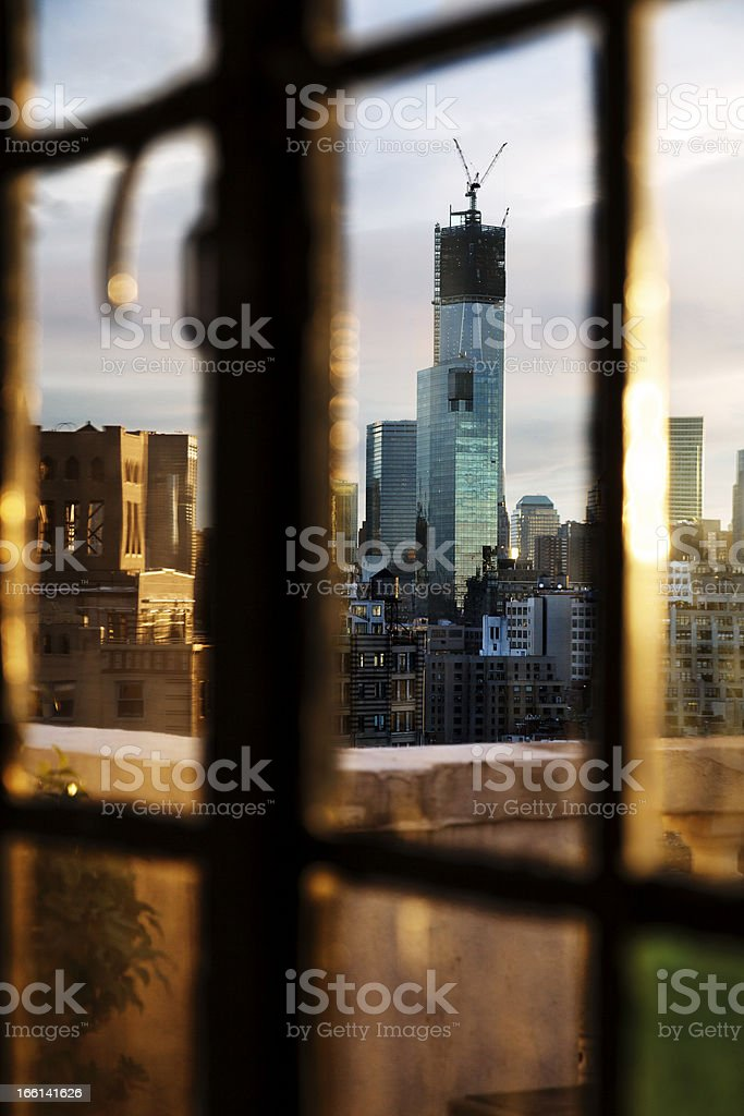 Lower Manhattan Skyline Afternoon Window royalty-free stock photo