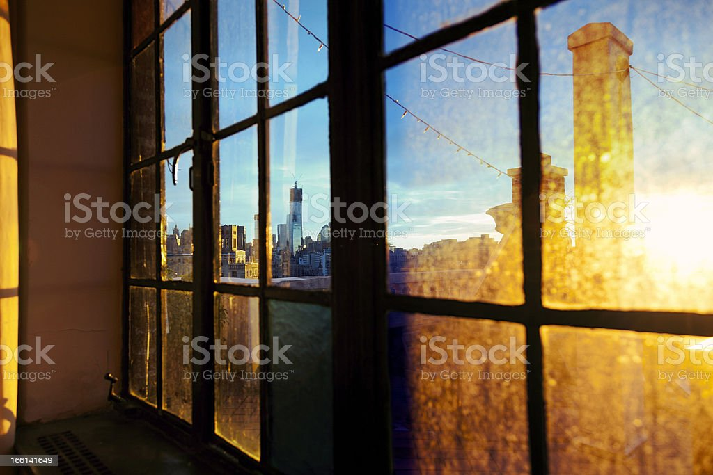 Lower Manhattan Skyline Afternoon Window royalty-free stock photo