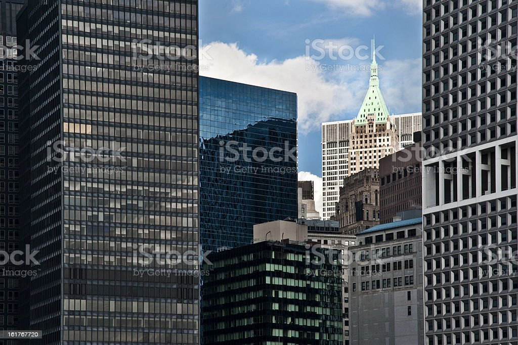 Lower Manhattan Skyline and Skyscrapers royalty-free stock photo