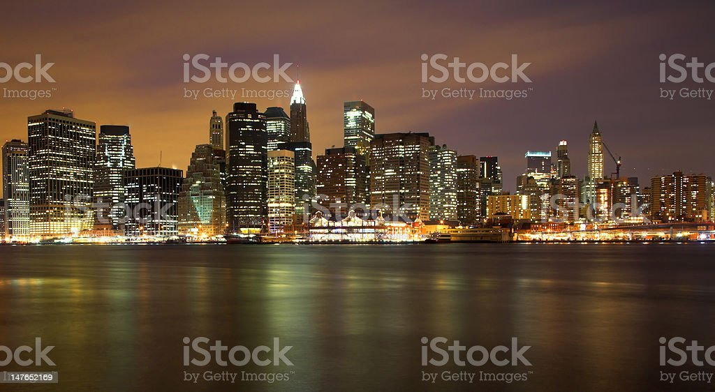 Lower Manhattan Skyline At Night royalty-free stock photo
