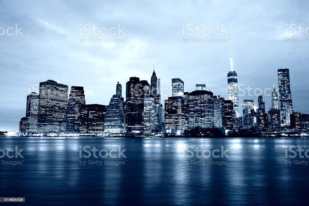 Lower Manhattan Skyline by Night, NYC stock photo