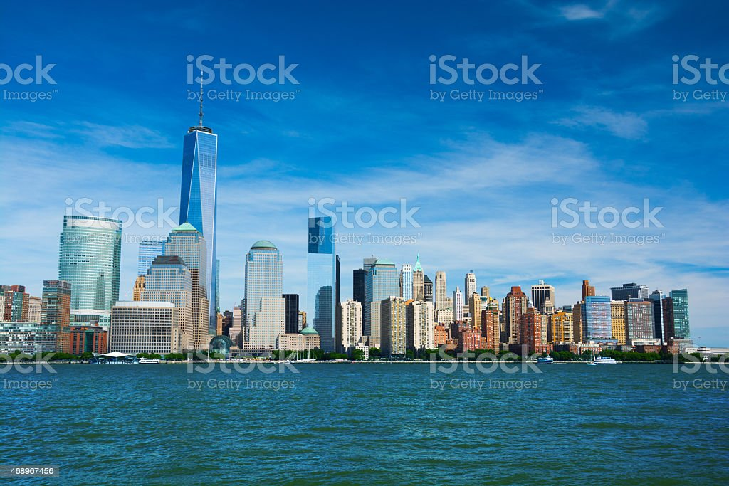 Lower Manhattan skyline featuring the New One World Trade Center stock photo