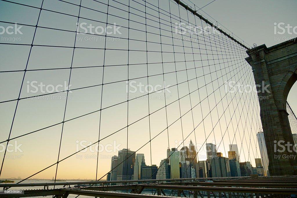 Lower Manhattan Skyline from Brooklyn Bridge stock photo