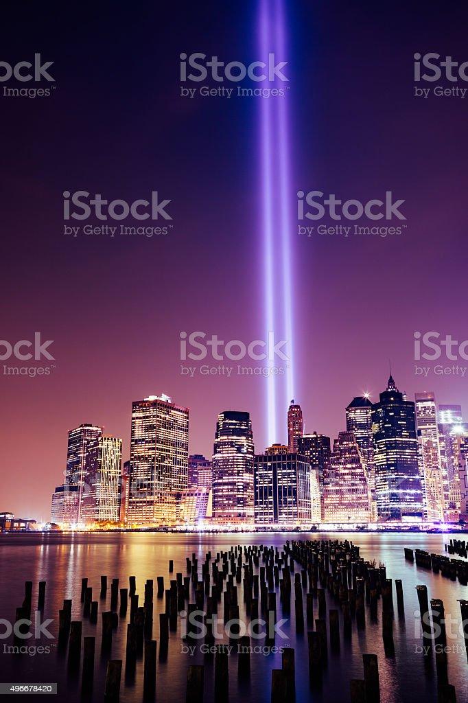 Lower Manhattan skyline night view from Brooklyn Bridge Park in stock photo