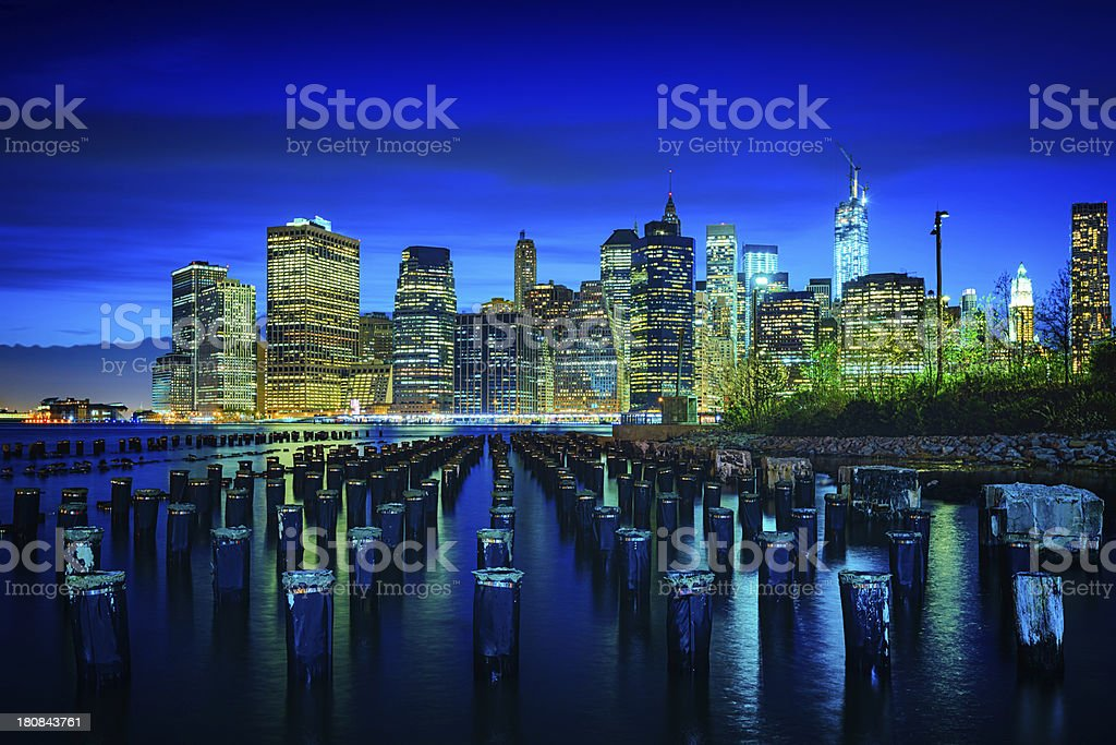 Lower Manhattan skyline with One World Trade Center, New York royalty-free stock photo